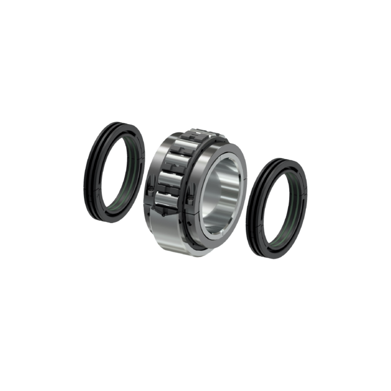 split bearing with bearing cage and triple labyrinth seals