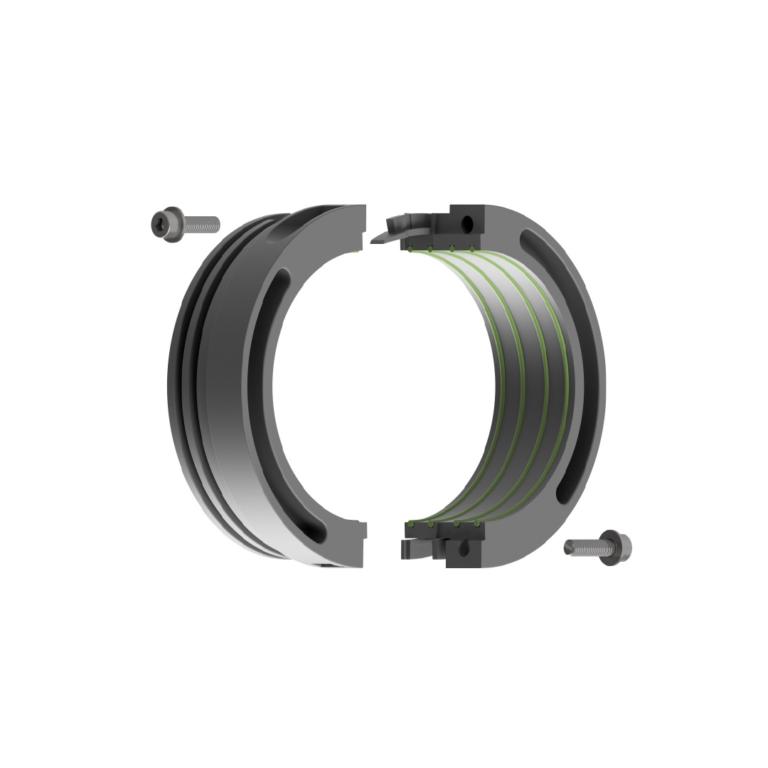 metal clamp rings and screws